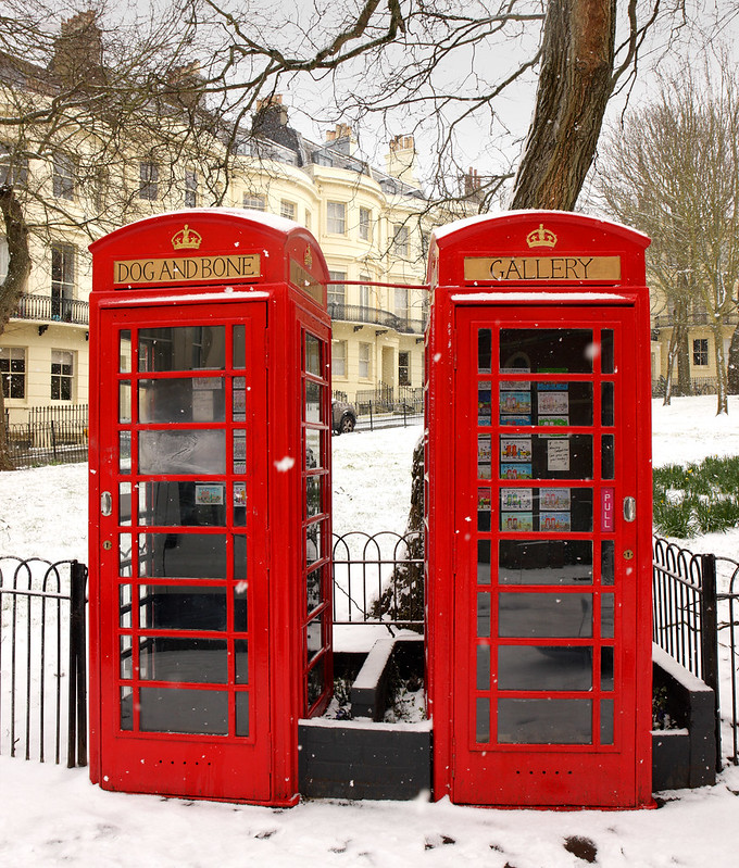 Converted Red Telephone Boxes Powis Square, Brighton - February 2018 Snow