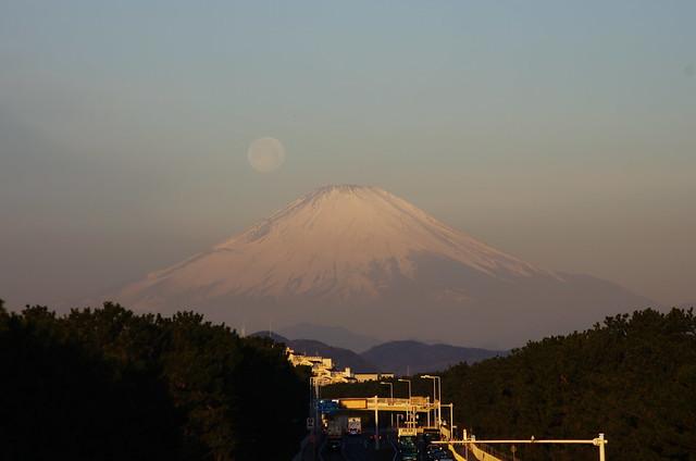 moon and mt.fuji