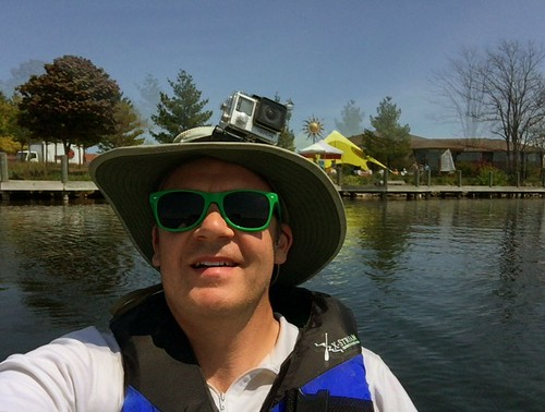 Photographer Ted Nelson kayaking the Boardman River in Traverse City