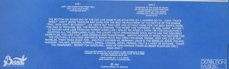Enlarged & Zoomed photo of back cover, showing tracks, liner notes and credits