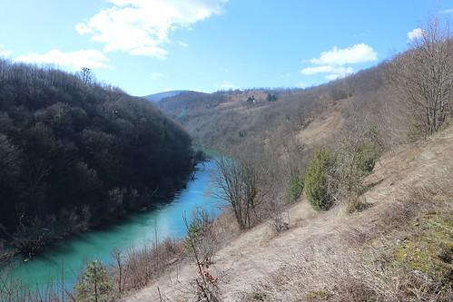 dabar river sanski most nature water trees sky landscape balkans bosnia