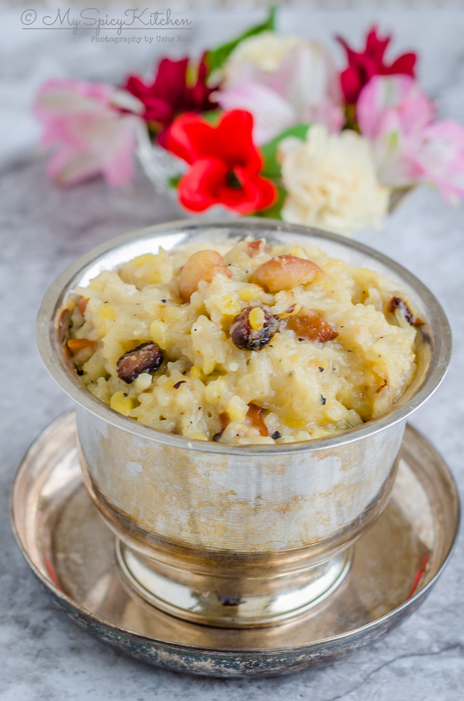 Bowl of Sakkarai Pongal prepared in Instant Pot the OPOS way