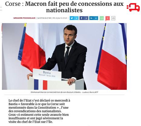 18b08 Les Echos Referencia financiera nacional Macron hace pocas concesiones y simbólicas que NO convencen en Córcega Uti 465