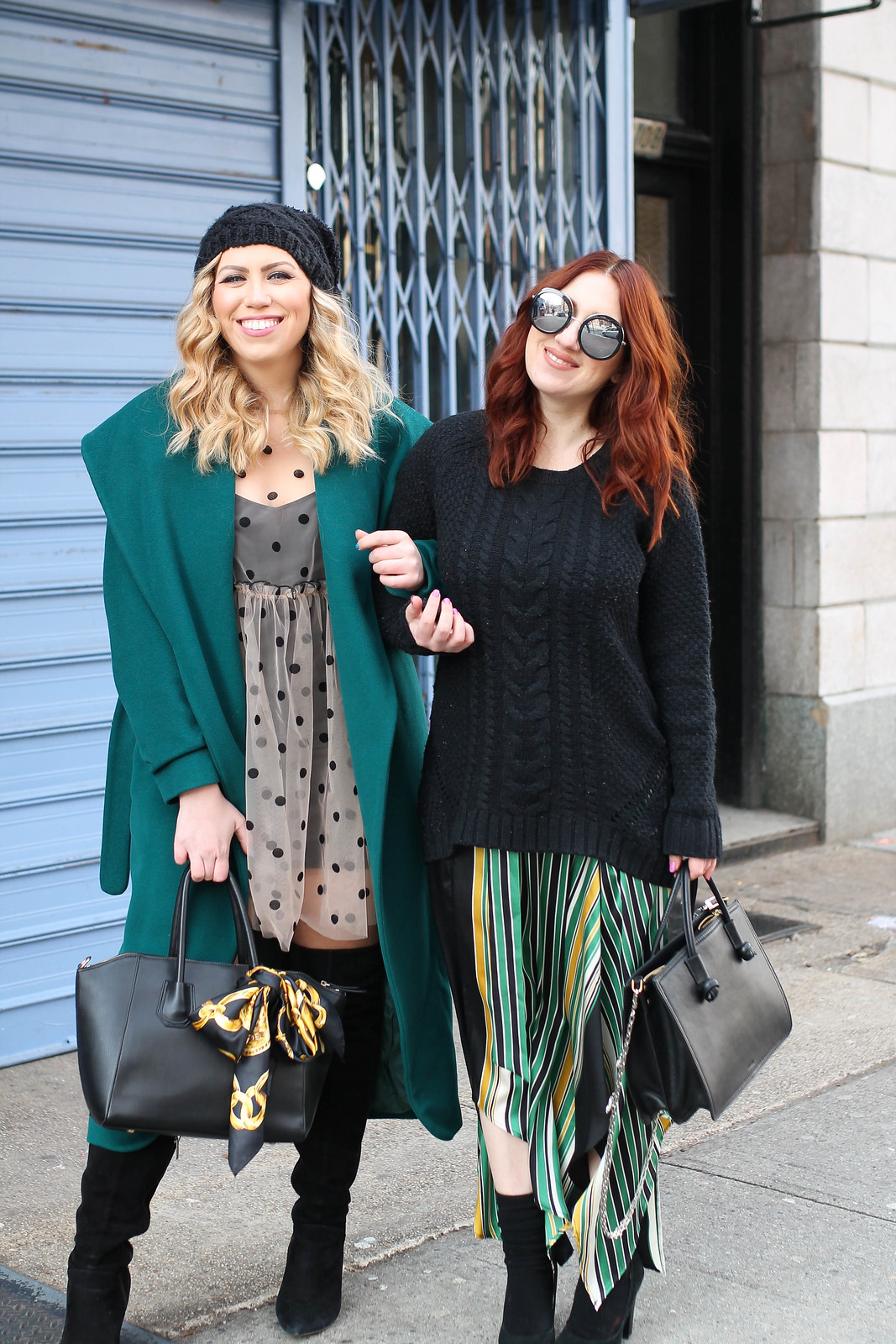 Blogger Best Friends New York Style How to Wear Green in Winter