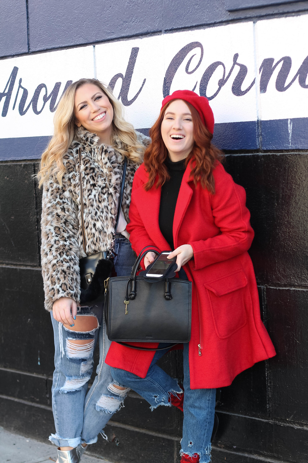 Red Head Girl wearing Red Beret Red Coat Blonde Girl wearing leopard coat