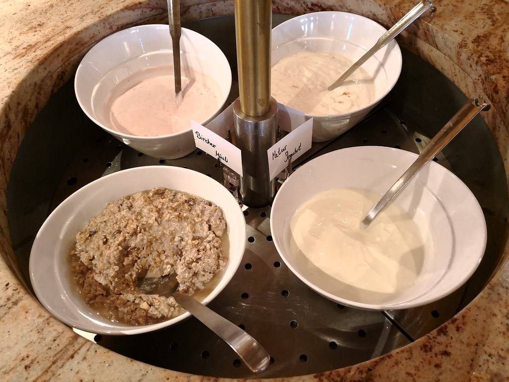 Assorted yogurt and muesli