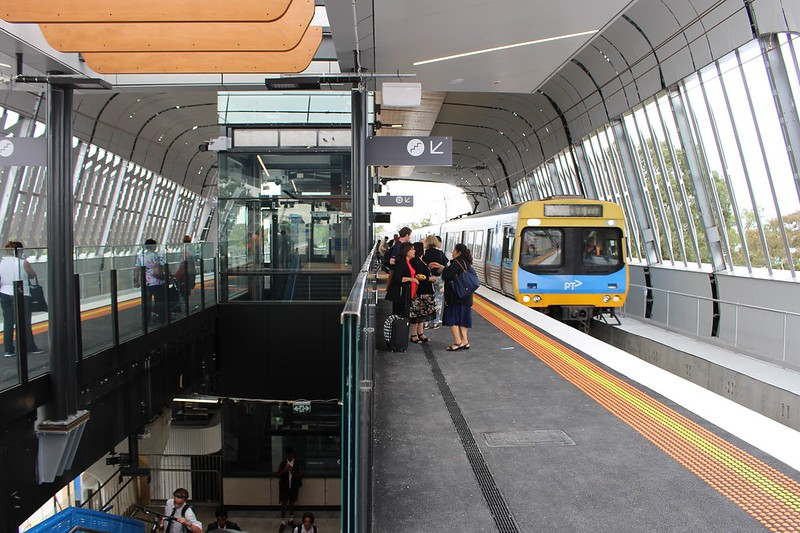 Citybound train arrives at new Noble Park station
