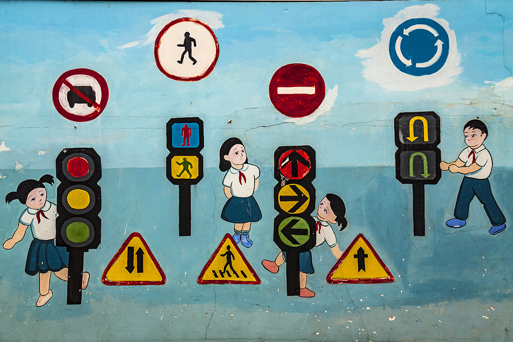 Mural of kids with traffic signs--Saigon