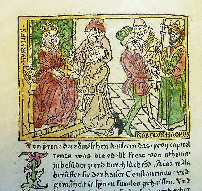 Woodcut illustration of Irene of Athens, Empress of the East, and Charlemagne by Johannes Zainer