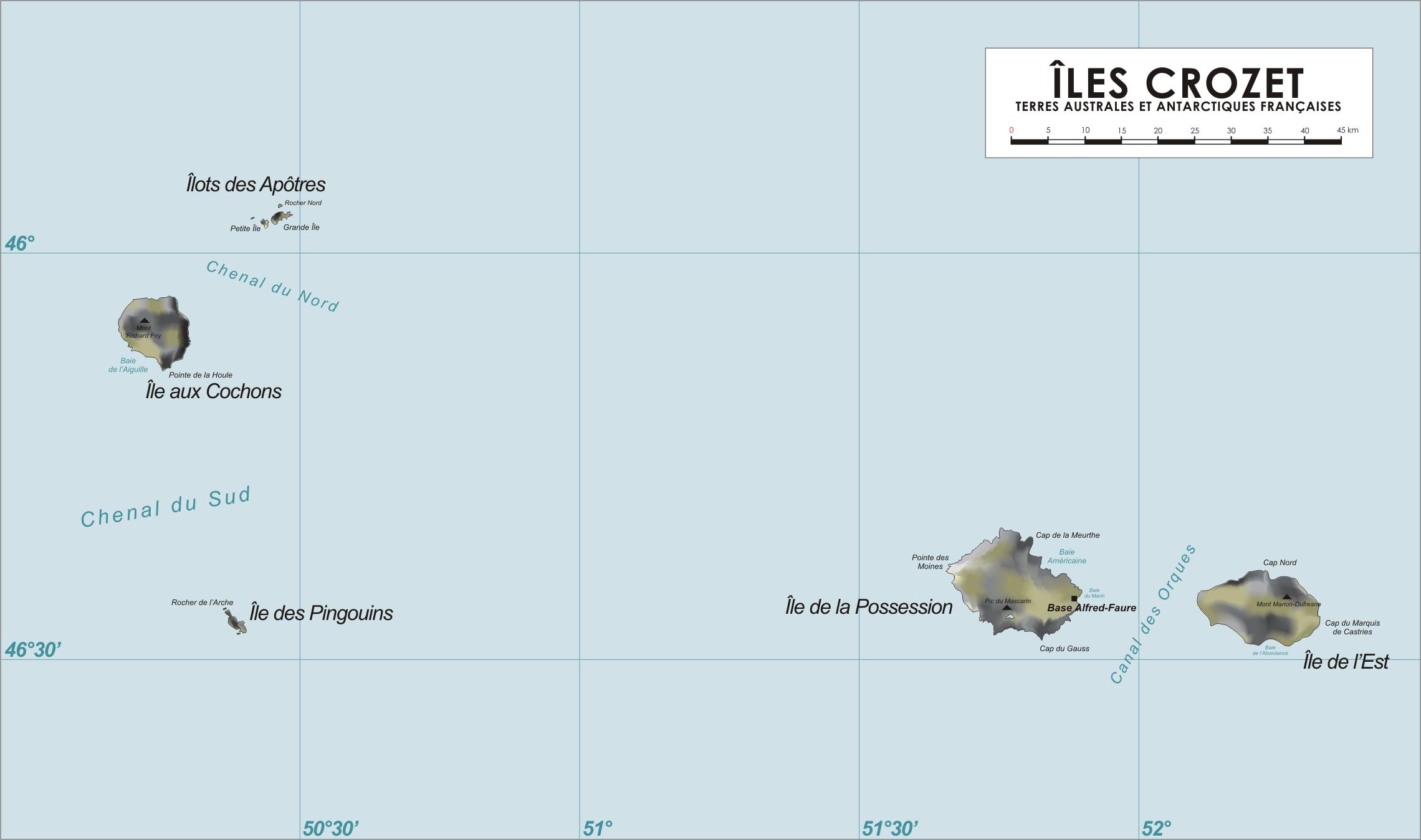 Map of the Crozet Islands