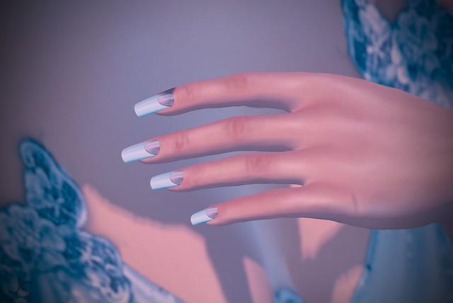 Glitter Half Moon Silver Nails