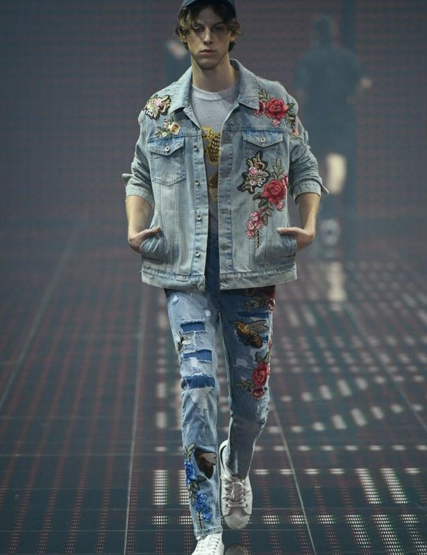 Male Denim Embroidered Jacket