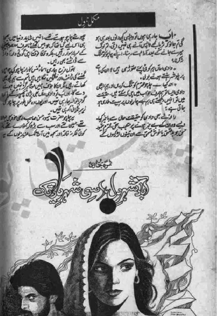 Aabad Shehar e Dil Usi Shehar e Yaar Tak is a very well written complex script novel by Samra Bukhari which depicts normal emotions and behaviour of human like love hate greed power and fear , Samra Bukhari is a very famous and popular specialy among female readers