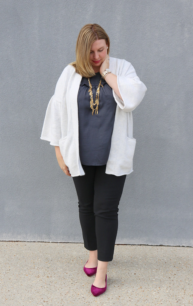 gray bell sleeve cardigan, gray shell, black pencil pants, garnet velvet flats 3