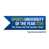 A blue flag with the text 'Sports University of the Year 2018 The Times and Sunday Times'