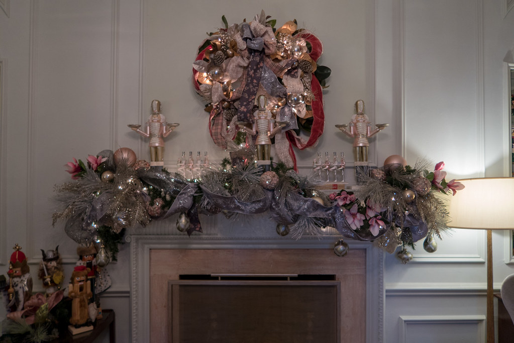 Christmas decorations at DeGoyler house