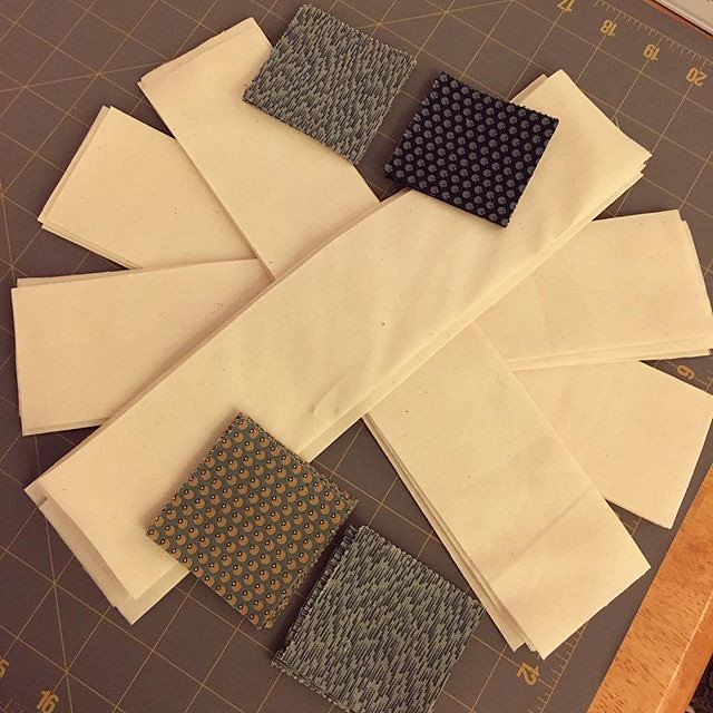 These blue cornerstones are the last squares from the charm packs. Using it all up!