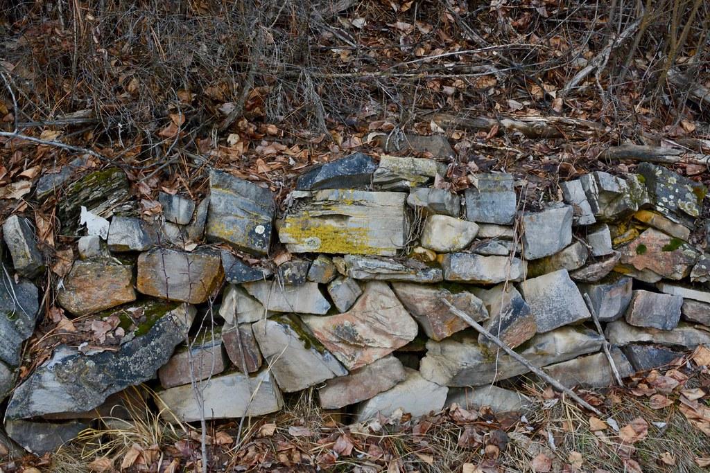 Rock wall, circa 1930