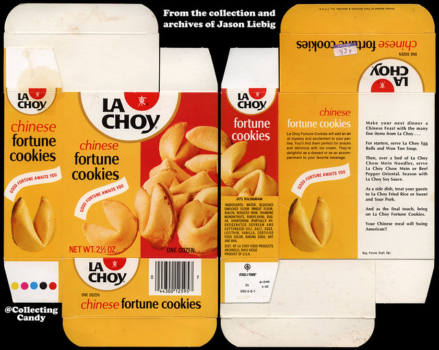 La Choy - Chinese Fortune Cookies - 2 1/2 ounce package box - 1982
