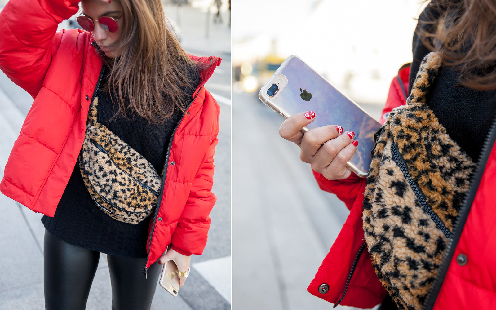 laura santolaria theguestgirl influencer madrid red coat Supreme bag tendencia riñonera de Superme NY fashionweeks
