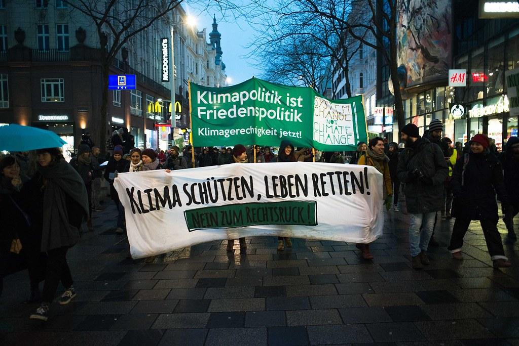 Klimagerechtigkeitsblock beim Neujahrsempfang für Schwarz-Blau 13. 1. 2018