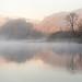 Misty autumn morning on Windermere lake