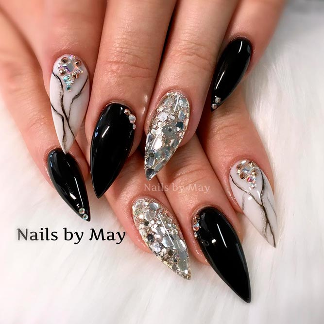 Nail Art Designs Black And Silver | Hession Hairdressing