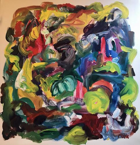 2018 Susan Marx,Happy Day, 40x40,  acrylic on canvas