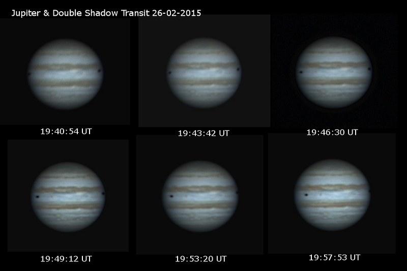 Jupiter & Double Shadow Transit (Io's Shadow Left & Callisto's Shadow Right) 2015-02-26