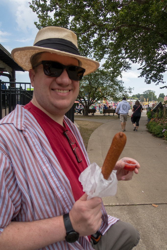 Eating a corn dog at the Iowa State Fair
