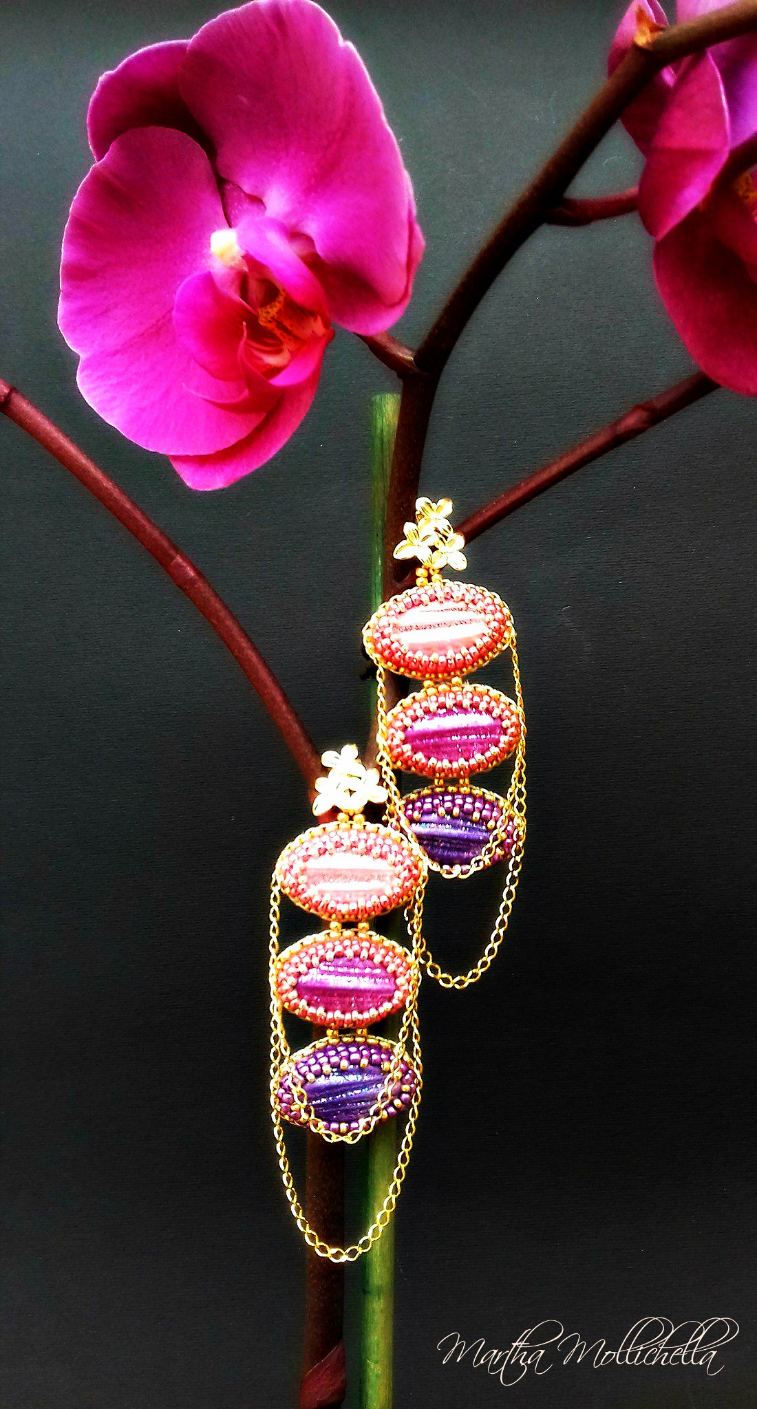 pink cyclamen violet gold chained earrings