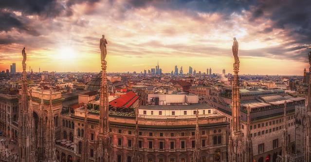 Sunset at  Basilica cattedrale metropolitana di Santa Maria Nascente