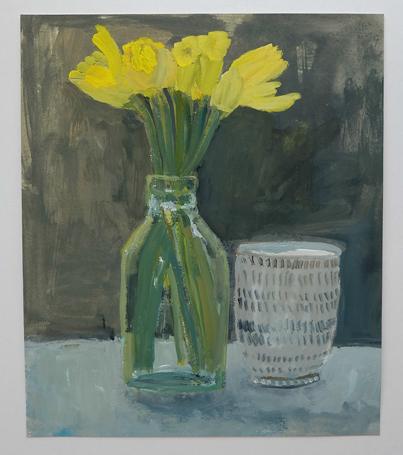 evening study: daffodils in a bottle with Japanese cup