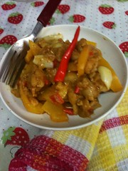 yummy curry chicken with spicy chilli and vegetables garlic