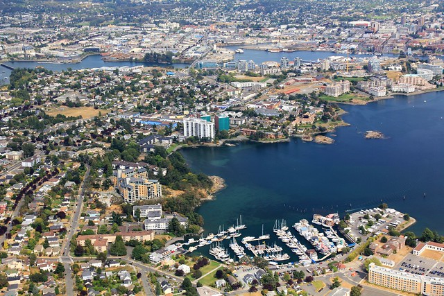 View over West Bay Marina - Seaplane Flight, Victoria, British Columbia, Canada
