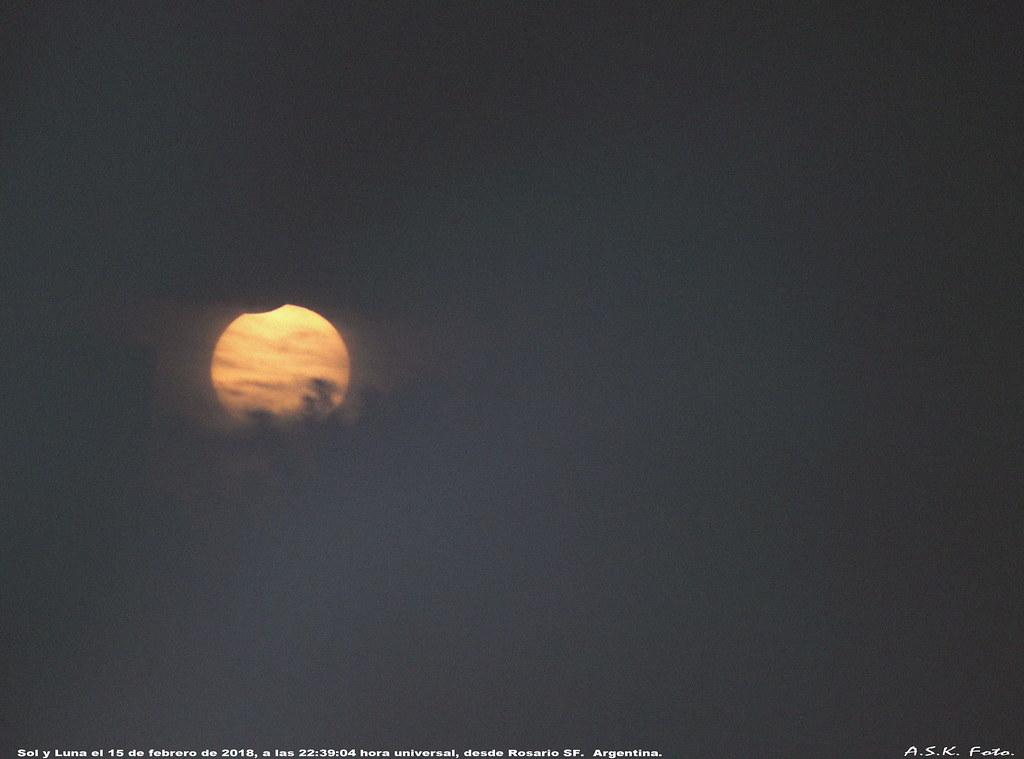 Puesta de sol y luna, 15 de febrero de 2018 desde Rosario SF Argentina
