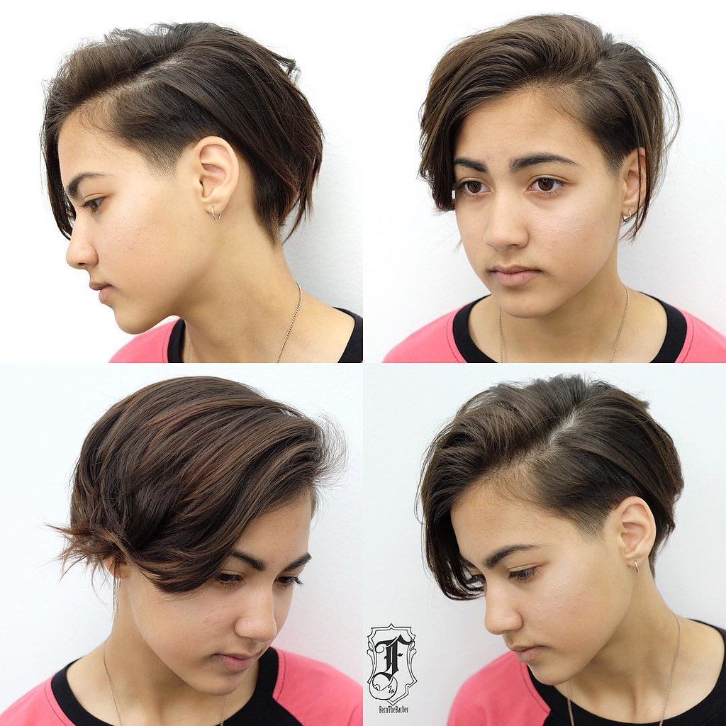 Undone Side Swept Pixie with Tapered Undercut and Brunette