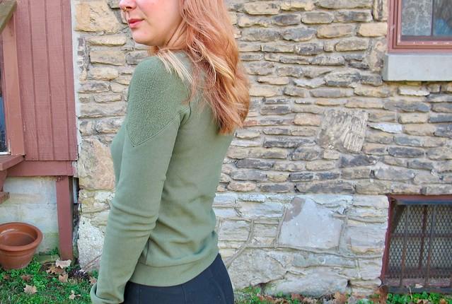 Sewaholic Fraser Sweatshirt made with stretch fleece from Mood Fabrics