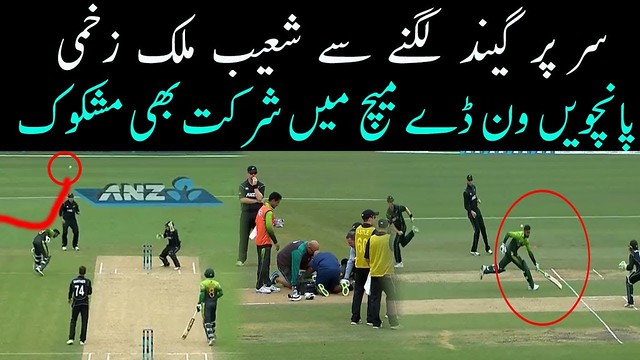 Shoaib Malik ball hit on the head in 4th ODI 2018 Suspected playing in the 5th odi match