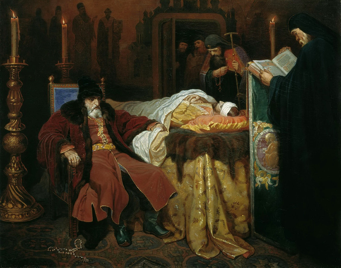 Ivan the Terrible meditating at the deathbed of his son. Ivan's murder of his son brought about the extinction of the Rurik Dynasty and the Time of Troubles. Painting by Vyacheslav Schwarz (1861).