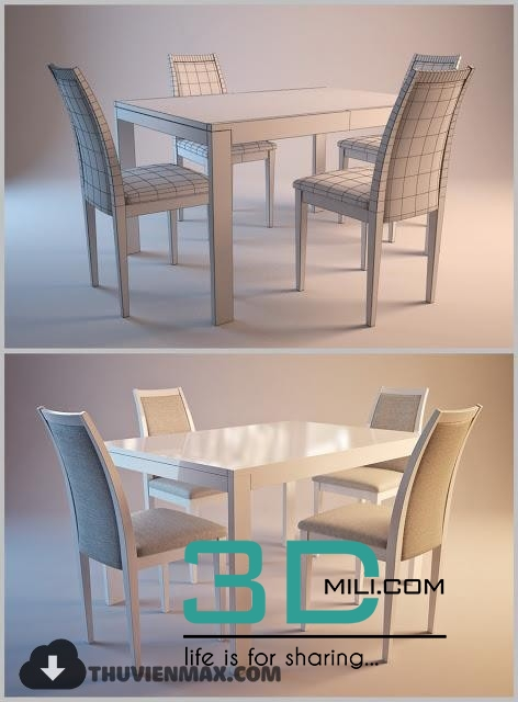 187. Table + Chair 3D Models Free Download