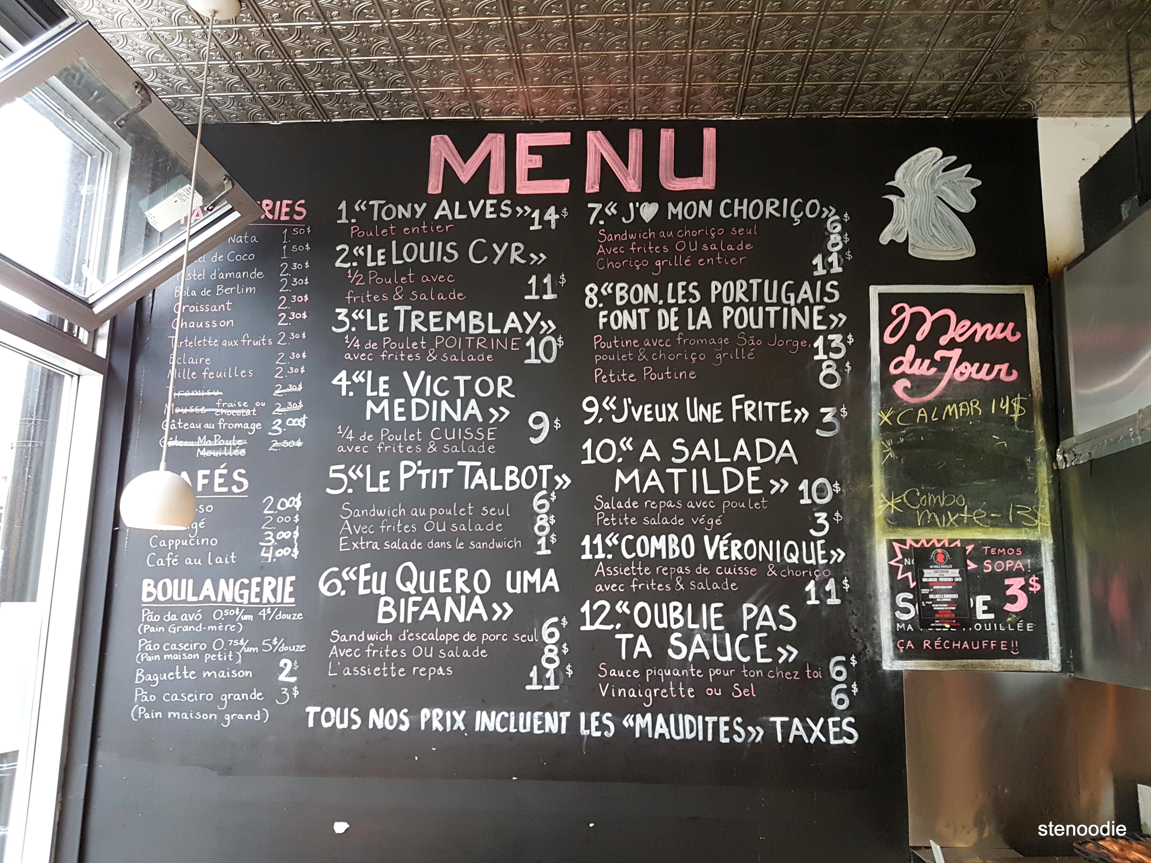 Ma Poule Mouillée menu and prices
