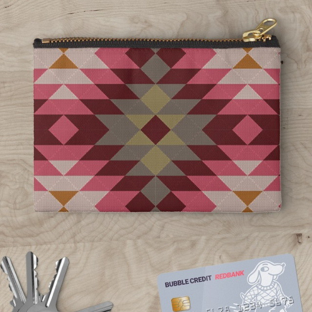 Ethnic geometric ornament. Kilim, Turkish, Aztec woven rug Studio Pouches
