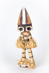 Ba Pende Doll with Raffia Costume Minganji African - Zaire