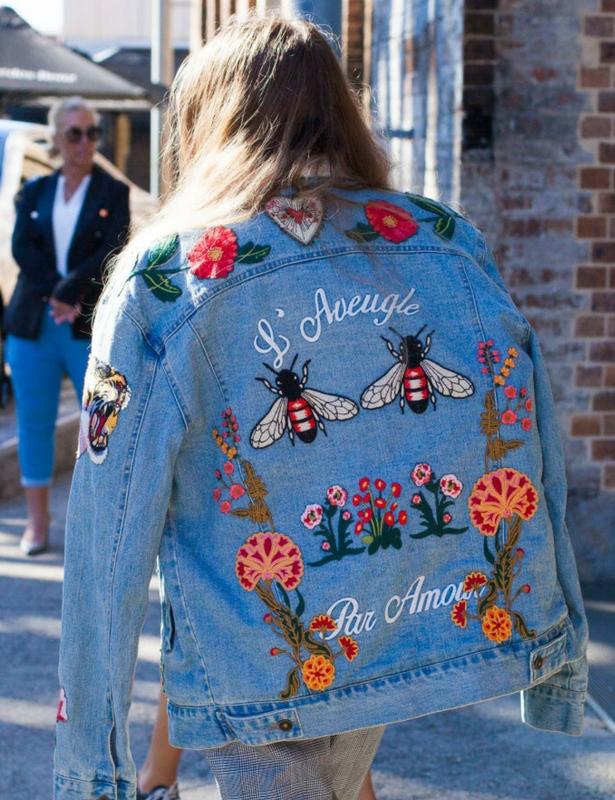 Denim Embroidered Jacket Back