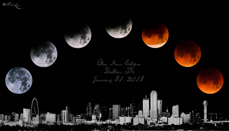 Blue Moon Eclipse at Dallas, TX