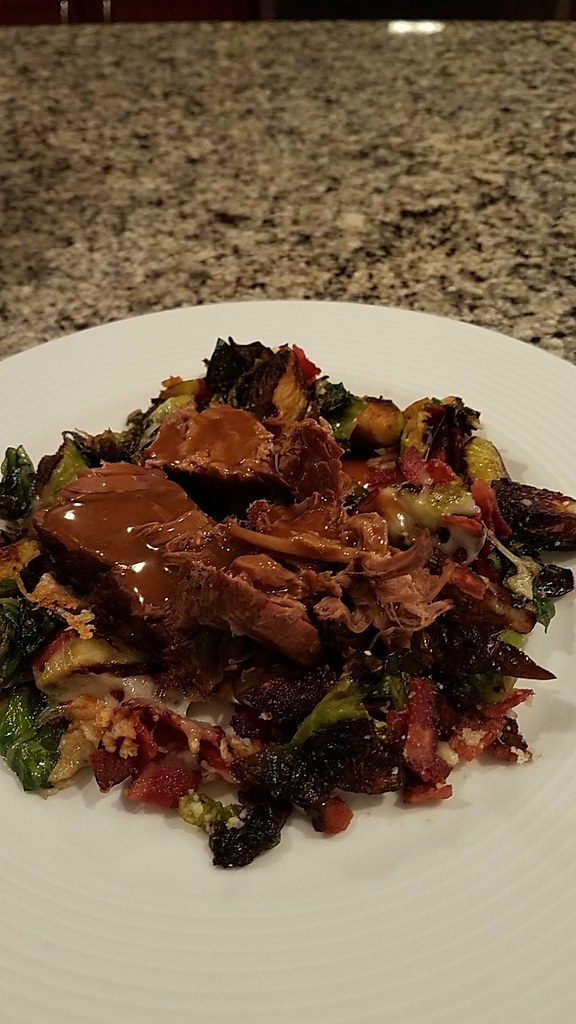 Roast beef with thickened jus, pan-fried Brussels sprouts with bacon and parmesan #homecooking