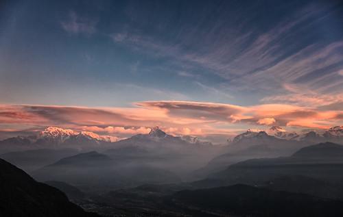 annapurnas himalayas nepal pokhara sarangkot sunrise