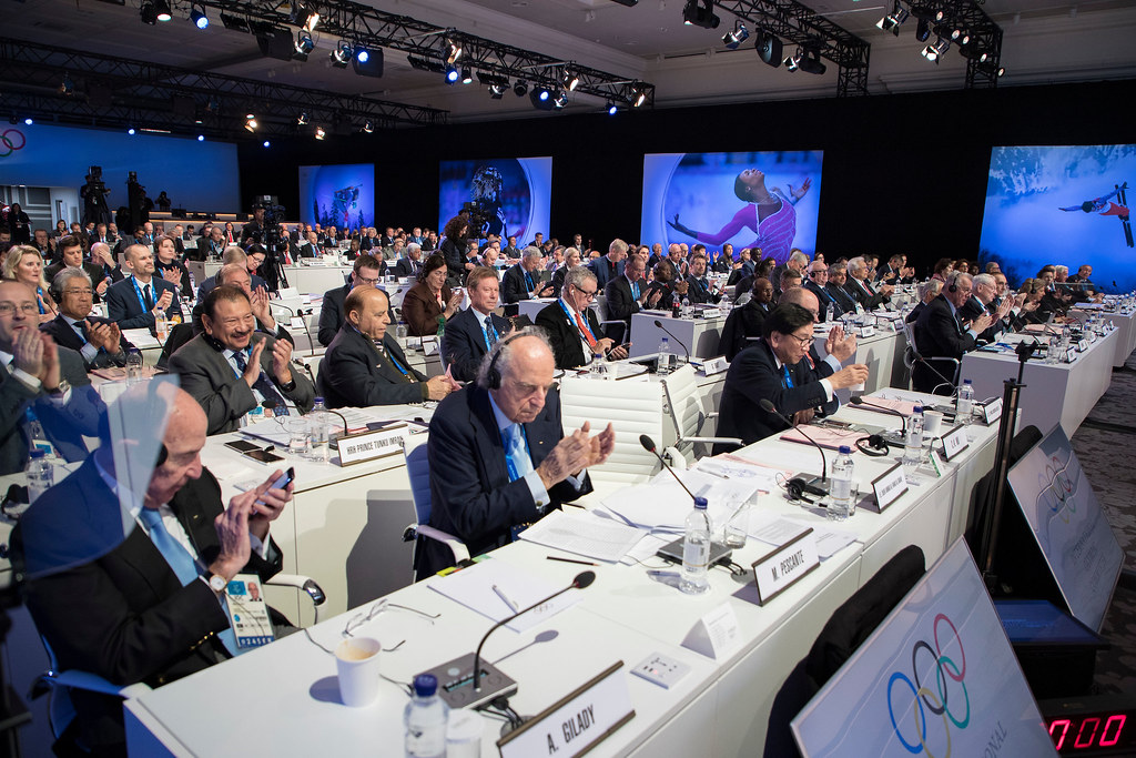 Members during the second day of the 132nd IOC Session at the Kensington Flora in Pyeongchang.