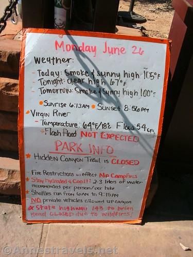 Vital stats for Zion National Park on the day we visited the Zion Narrows, Utah
